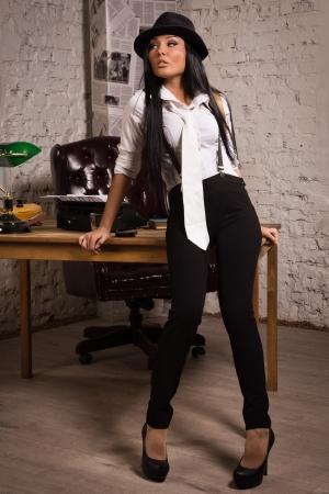 detective agency: Retro detective girl in the detective agency