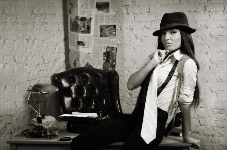 Retro detective girl in the detective agency Stock Photo - 17449930