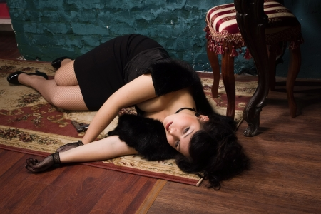 noire: Crime scene in a vintage style. Victim lying on the floor