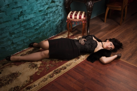 poisoned: Crime scene in a vintage style. Victim lying on the floor