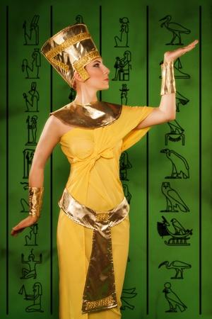 Portrait of beautiful egyptian woman stylized into Cleopatra Stock Photo - 18381618