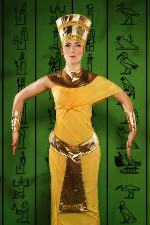 egyptian woman: Portrait of beautiful egyptian woman stylized into Cleopatra