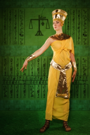 Portrait of beautiful egyptian woman stylized into Cleopatra photo
