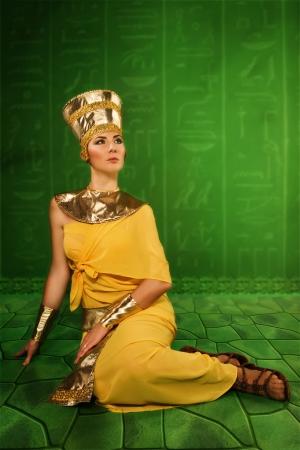 Portrait of beautiful egyptian woman stylized into Cleopatra photo