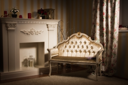 aristocratic: Luxurious vintage interior with fireplace in the aristocratic style