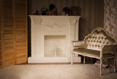 aristocrático: Interior lujoso vendimia con chimenea en el estilo aristocr�tico Foto de archivo