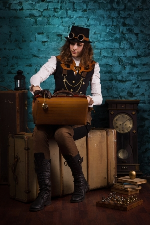 Steam punk girl in a vintage room photo