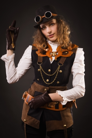 Fashionable steam punk girl photo
