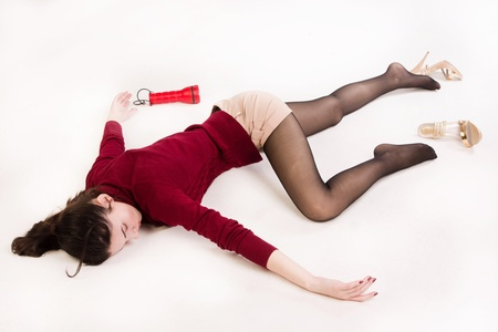 murdering: Crime scene simulation: college girl lying on the floor