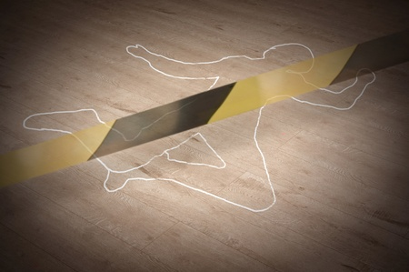 Crime scene with the silhouette of the victim circle   photo