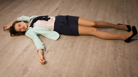 casualty: Crime scene simulation: college girl lying on the floor
