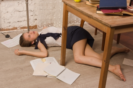 Crime scene simulation  Body of the lifeless college girl Stock Photo - 20820502