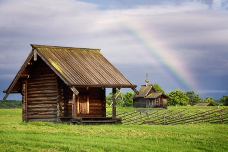 Rural landscape with rainbow  Kizhi Island, Russia photo