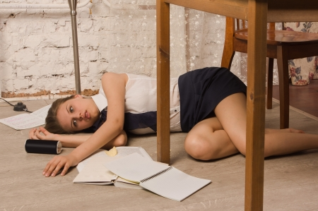 Crime scene simulation  Body of the lifeless college girl photo