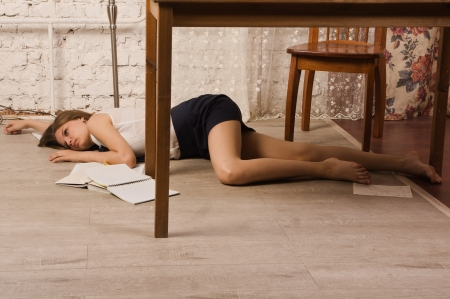 the unconscious: Crime scene simulation  Body of the lifeless college girl