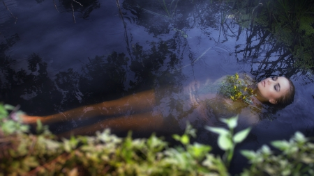 Young drown woman in a poetic representation. Archivio Fotografico