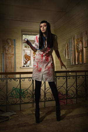 bloodied: Crazy dead nurse in an abandoned hospital