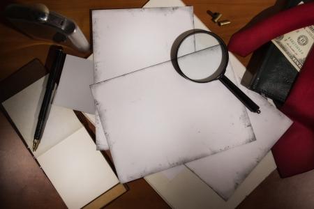 crime scene: Set detective. Evidence and crime scene photos