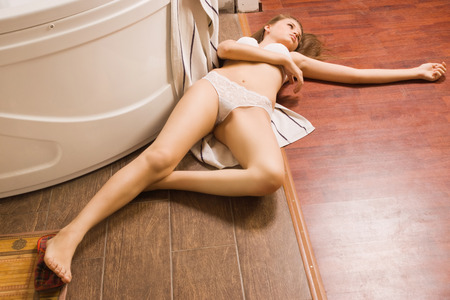 Crime scene simulation: victim lying on the floor