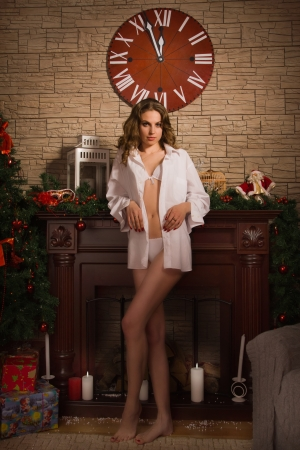 Attractive woman in sexy lingerie posing by the fireplace photo