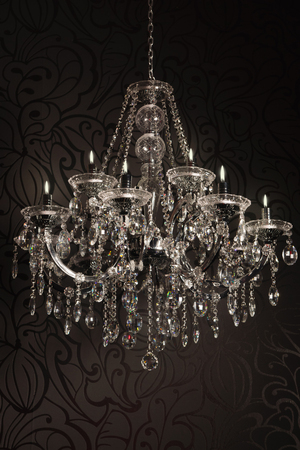 luxurious crystal chandelier with candles photo