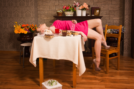 Crime scene simulation: poisoned victim lying on the table