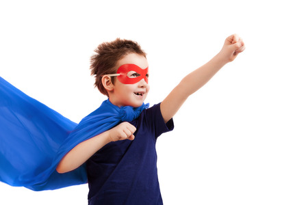 Superhero kid over white photo