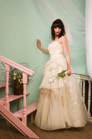 Gothic bride in the vintage interior photo