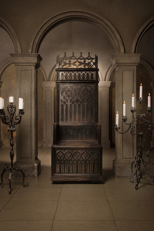 medieval: Royal throne in the medieval castle