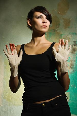 Film noir. Criminalist on the crime scene photo