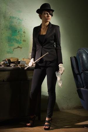 Film noir. Criminalist investigating the crime scene photo