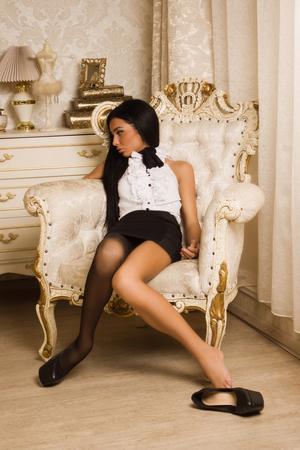 Crime scene simulation. Strangled victim in a luxury bedroom