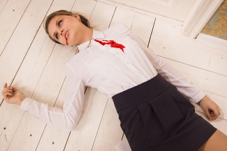 corpse: Crime scene in a office with body of lifeless secretary
