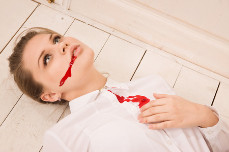 Crime scene in a office with body of lifeless secretary