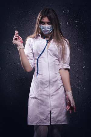 abhorrence: Crazy bloody nurse in a dark room
