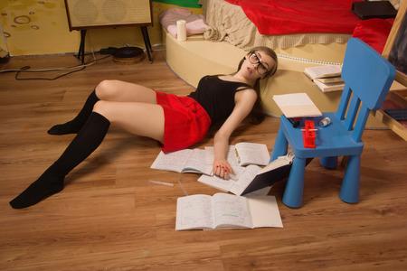 strangle: Crime scene simulation. Body of the lifeless college girl
