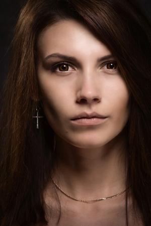 asylum: Asylum. Portrait of crazy woman. Low key.