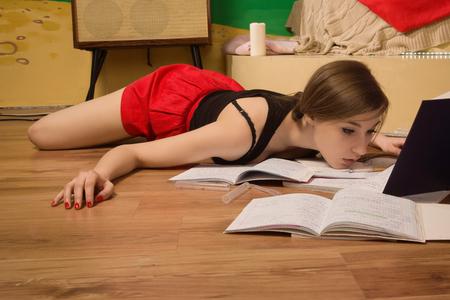 strangled: Crime scene simulation. Body of the lifeless college girl