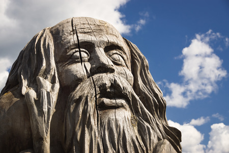 paganism: Wooden statue of the idol. Stock Photo