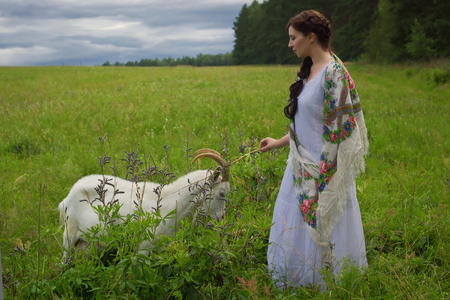 traditional clothes: Russian woman in traditional clothes herding goats Stock Photo