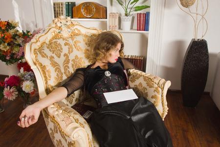 strangled: Crime scene simulation. Strangled woman in a boudoir