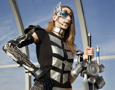 futuristic girl: Futuristic girl holding a blade. cosplay character
