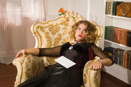 Crime scene simulation. Strangled woman in a boudoir