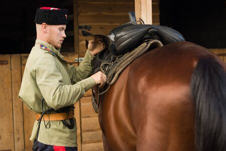 headcollar: Russian Cossack grooming horse in the stall