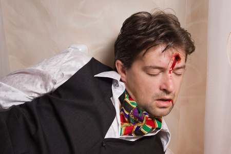 swooned: Corpse of killed business in a bedroom