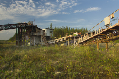 sand quarry: Conveyor on abandoned industrial sand quarry