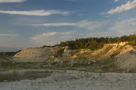 sand quarry: Summer landscape. Abandoned sand quarry