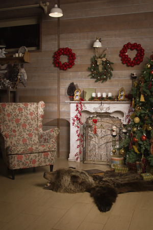 fireplace: Fireplace with beautiful Christmas decorations in room