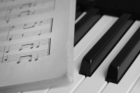 Piano keys closeup monochrome. Selective focus Stock Photo