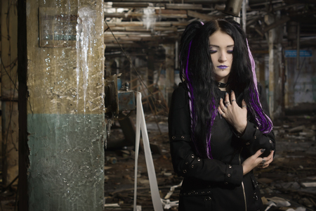 gothic fetish: Cyber gothic girl in an abandoned factory